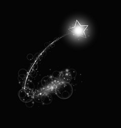 Silver comet with a bright star vector