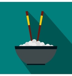 Bowl of rice with pair of chopsticks icon vector image vector image
