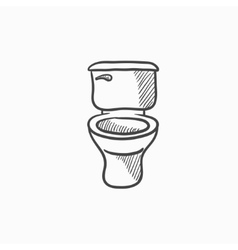 Lavatory bowl sketch icon vector image vector image