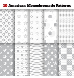 Set of monochromatic American seamless patterns vector image vector image