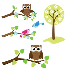 set of nature elements vector image vector image