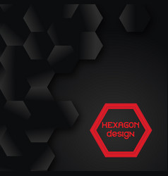 tech geometric black background with hexagon vector image