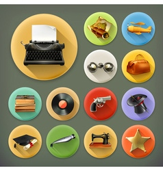 Universal long shadow retro icon set vector image vector image