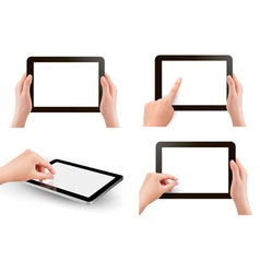 Set of tables with hands vector image