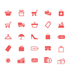 Shopping retail and money flat icons set vector