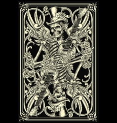 skeleton playing card vector image vector image