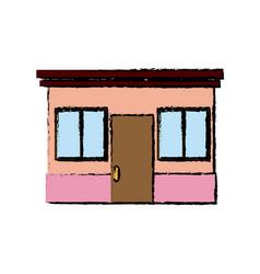 drawing facade door windows glass exterior vector image