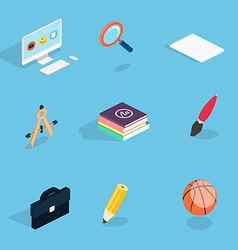 Flat 3d isometric icons set vector image vector image
