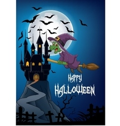 Haunted house with witch flying broom vector image