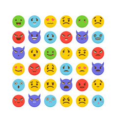 set of emoticons flat design cute emoji icons vector image vector image