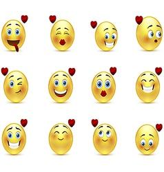 Set valentine of smilies vector image