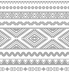 Tribal seamless Aztec stroke black pattern vector image vector image