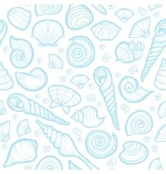 Vintage sea shell set pattern Hand drawn vector image