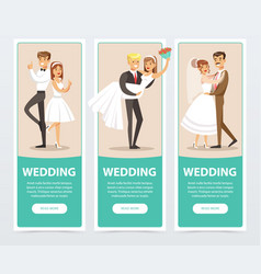 wedding banners set happy just married couples vector image