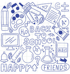 01-09-006 hand drawn set school icons vector