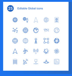 25 global icons vector image
