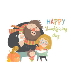 a cartoon happy family vector image