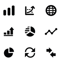 analytics 9 icons set vector image