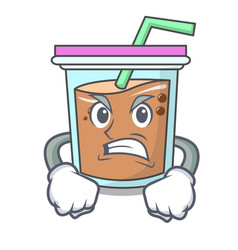 Angry bubble tea mascot cartoon vector