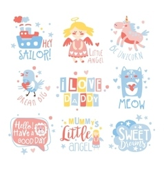 Baby nursery room print design templates set in vector