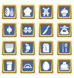 Bakery icons set blue square vector