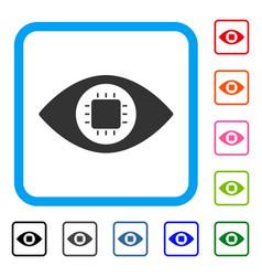 Bionic eye circuit framed icon vector