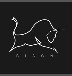Bison logo one line design silhouette vector