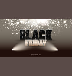 black friday sale banner with spotlight discount vector image