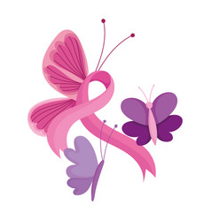 breast cancer awareness month flying butterflies vector image