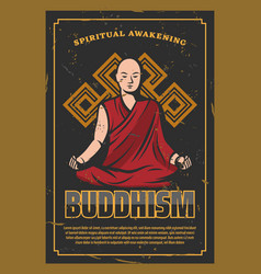 buddhism religion poster with monk in lotus pose vector image