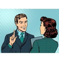 Business meeting between boss and subordinate vector