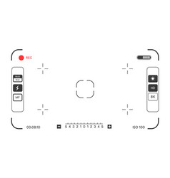 Camera focus with info and settings on screen vector