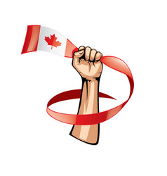 canada flag and hand on white background vector image