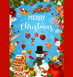 Christmas greeting card with new year gift frame vector