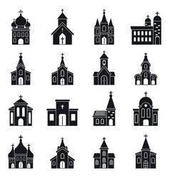 Church building icons set simple style vector