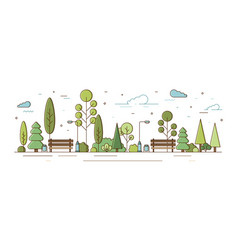 City park or municipal garden with trees bushes vector