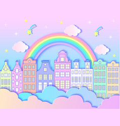 city rainbowstars and clouds vector image