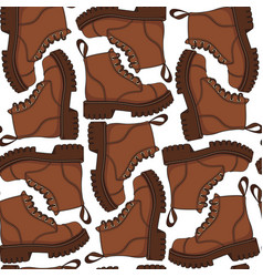color seamless pattern with brown boots vector image