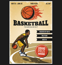 Colored vintage basketball championship poster vector