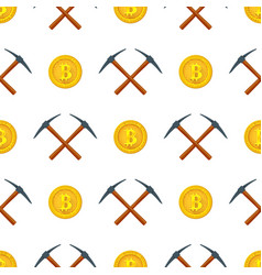 Crypto currency mining seamless pattern vector