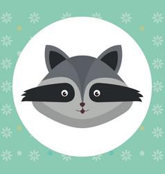 cute raccoon head tender character vector image