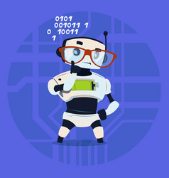 cute robot wear glasses thinking modern artificial vector image