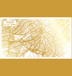 denizli turkey city map in retro style in golden vector image