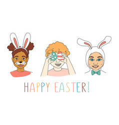 Diverse kids childrens heads happy easter vector