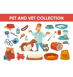 Dog cat pet stuff and supply set vector image