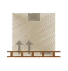 Drawing boxes staked wooden design vector