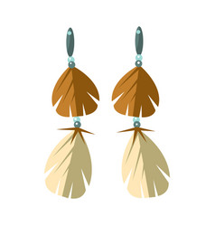 Earrings with feathers native american indian vector