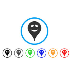 Embarrassment smiley map marker rounded icon vector