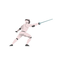 Fencer in attack with foil male athlete character vector