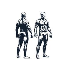 Figure a muscular man vector